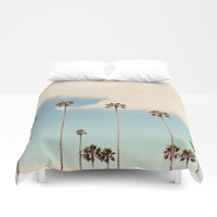Palm trees Duvet Cover by sylviacookphotography