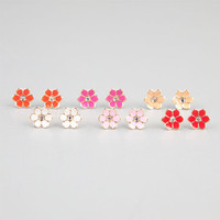 Full Tilt 6 Pairs Epoxy Daisy Earrings Pink Combo One Size For Women 24028639801