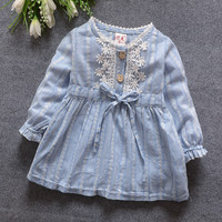 2016 Spring Summer New  Cart Baby Girls Dress Long Sleeve Baby Girl Princess Dress Kid Party Clothing Baby solid  Dress 809