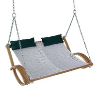 Pawleys Island Hammocks Rope Double Swing - Outdoor (Blue/Oak)