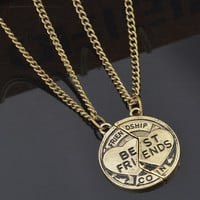 1set Bronze Silver Jewelry Necklace Pendant Friendship Best Friends (Size: 2, Color: Bronze) = 1947048324