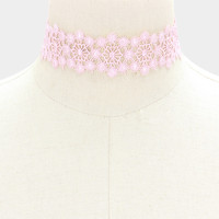 "12"" pink flower floral lace choker collar necklace 1.25"" wide"