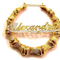 14k Gold Overlay 2 Inch Any Name Bamboo Earrings Personalized