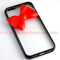 Iphone 5 Case, lovely red bow iphone 5 Hard Case iPhone Case 5 black side clear case