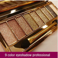 New women 9 colors diamond bright colorful makeup eye shadow super flash Glitter eyeshadow palette make up set with brush