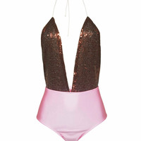 Pink Sequins Padded Push-up Swimsuit