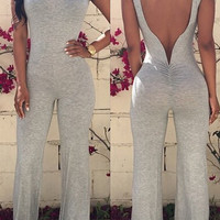 Gray Backless Sleeveless Jumpsuits