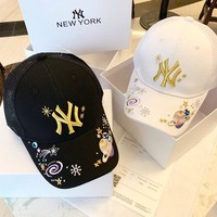 """New York Yankees"" Women Casual Fashion Planet Letter Embroidery Baseball Cap Breathable Mesh Peaked Cap Sun Hat"
