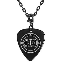 """Raum 40th Lesser Seal Goetia Black Guitar Pick Clip Charm on 24"""" Chain Necklace"""