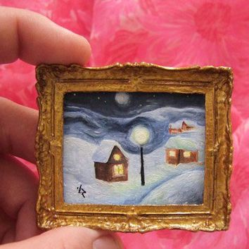 Miniature Oil Original Painting for Dollhouse or Collection by VaKaDi