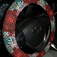 Steering Wheel Cover-Red Aqua-Floral Wheel Cover-Car Accessories-Cute Car Accessory for Women