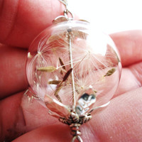 Make A Wish Orb Necklace Filled With Real Dandelion Seeds