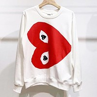 Comme Des Garçon Play Fashion Women Men Print Long Sleeve Sweatshirt Sweater