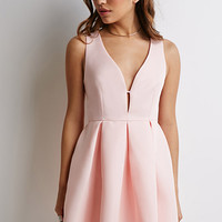 Deep V-Neck Pleated Dress