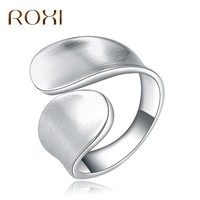 ROXI Fashion Anillos Couple Ring White Gold Punk Ring Simple Two Side Ring for Men Women lord Wedding Band Male for lovers