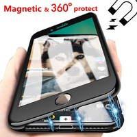 Magnetic Adsorption 360 Tempered glass Cover Case For iphone 8 iphone 6 s 8plus Luxury Coque For iphone 7 Plus iphone X 10 Cases
