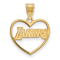 NBA 14k Yellow Gold Plated Silver Los Angeles Lakers Heart Pendant