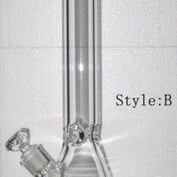 "Popular 9mm Thickness Glass Water Bongs beaker base Waterpipe Clear Glass Water Pipes 18""Height  bongs"