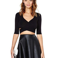 'The Latisha' Black Cross Front Backless Cropped Top