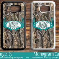 Monogram Galaxy S6 Edge case Turquoise Antlers Camo Deer Personalized Samsung S3 S4 S5 Note 2 3 4 Custom Tough Cover Country Hunting Girl
