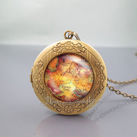Peter Pan Locket Necklace,Peter pan Neverland Map,vintage pendant Locket Necklace