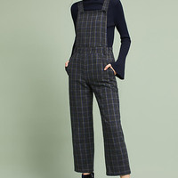 Cropped Plaid Overalls