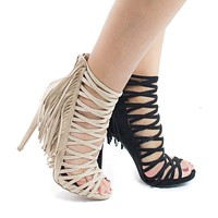 Evelyn69 By Wild Diva, Caged Fringe Zip Up Stiletto High Heel Sandals