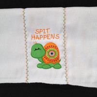 Spit Happens Burp Cloth Embroidered Turtle in Orange and Green for Boys or Girls Can be personalized for an extra charge