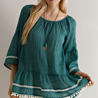 Solid Guise Ruffled Peasant Blouse - Hunter Green