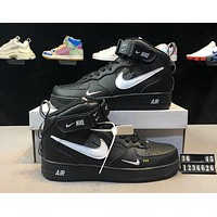 NIKE AIR FORCE 1 Tide brand men and women models high to help casual wild sports shoes black