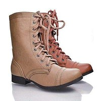 Relax By Soda, Round Toe Combat Military Side Zipper Lace Up Mid Calf Boots