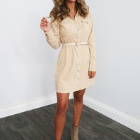 Hours Go By Dress: Beige