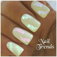 Nail Decal. 24 Feather Vinyl Stickers Nail Art