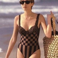 FENDI Vintage Swimsuit Monogram One Piece Body Suit