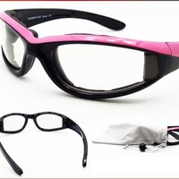 Motorcycle Glasses Foam Padded Clear for Women with Pink Frame. Safety Polycarbonate Clear Lenses. Free Microfiber Cleaning Case.