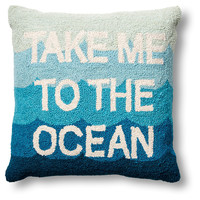 Take Me To The Ocean 18x18 Wool Pillow, Decorative Pillows