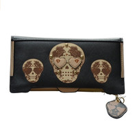 Women's Skull Purse Clutch Card Holder Wallet with 18 Card Slots