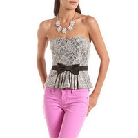 Satin Bow Lace Peplum Top: Charlotte Russe