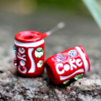 Tiny little coke can pendant earring/Spit it out. U COOL(sterling silver post)
