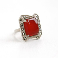 Vintage Art Deco Sterling Silver Carnelian & Marcasite Ring - 1930s Size 4 1/4 Statement Red Gem Shield Jewelry