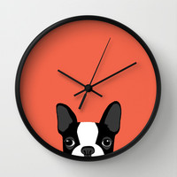 Boston Terrier Wall Clock by Anne Was Here