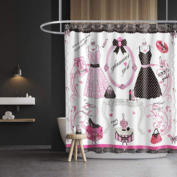 Lifeasy Paris Fashion Shower Curtain Princess Dress Theme Cloth Fabric Bathroom Decor Set with Hooks Waterproof Washable 72 x 72 inches Red and Black Pink