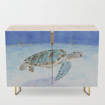 Sea turtle underwater Credenza by savousepate