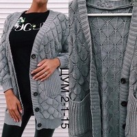 Grey Single Breasted Pockets V-neck Long Sleeve Casual Cardigan Sweater
