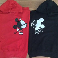 Free/Fast Shipping for US Mickey and Minnie Kissing Cuties Couples Hoodies