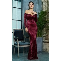Midnight Memories Wine Red Sequin Long Sleeve Off The Shoulder V Neck Trumpet Maxi Dress