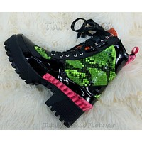 CR Queen Pins Black Neon Snake Lace Up Platform Sneaker Combat Ankle Boots 6-11