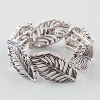 Full Tilt Leaf Stretch Bracelet Silver One Size For Women 25369914001