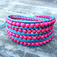 Beaded Leather Wrap Bracelet 4 Wrap with Colorful Magenta Pink Stone Beads on Turquoise Leather