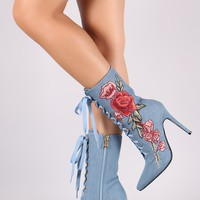 Embroidered Floral Denim Pointy Toe Stiletto Lace Up Boots